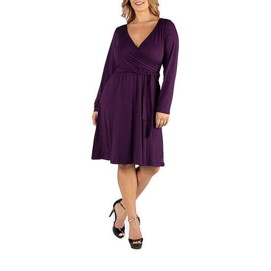 24/7 Comfort Apparel Knee Length Long Sleeve Wrap Dress - Plus