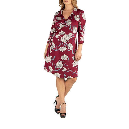24/7 Comfort Apparel Collared Floral Wrap Dress - Plus