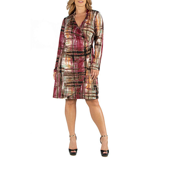 24/7 Comfort Apparel Knee Length Long Sleeve Plaid Wrap Dress - Plus
