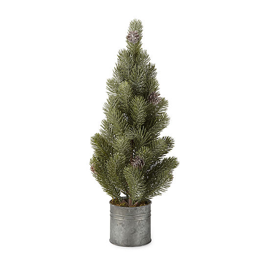 """North Pole Trading Co. 20"""" Galvanized Potted Christmas Tabletop Tree"""
