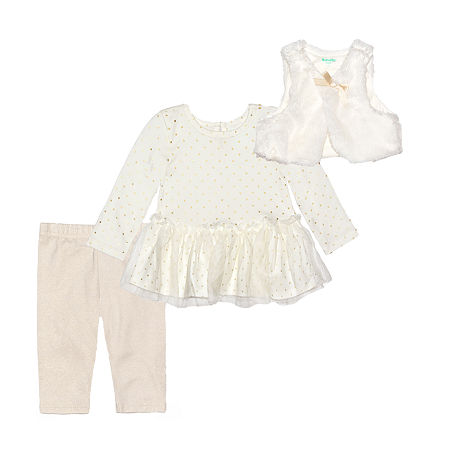 Nannette Baby Girls Long Sleeve Dress Set, 3-6 Months , Beige