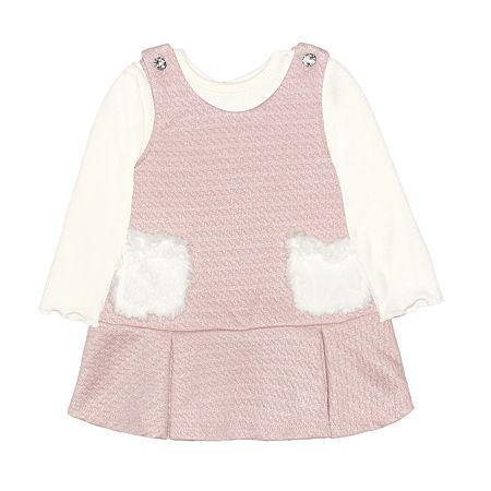 Nannette Baby Girls Long Sleeve Dress Set, Newborn-3 Months , Pink