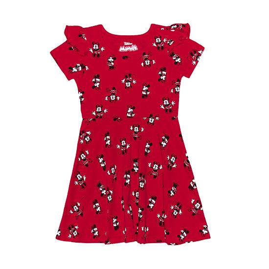 Disney Toddler Girls Short Sleeve Flutter Sleeve Minnie Mouse A-Line Dress