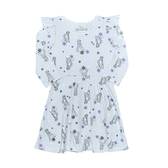 Disney Toddler Girls Long Sleeve Flutter Sleeve Frozen A-Line Dress