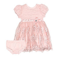 Nannette Baby Baby Girls Short Sleeve Dress Set, 6-9 Months , Pink