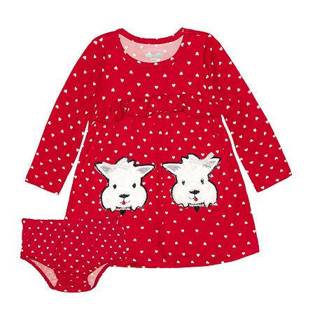 Nannette Baby Girls Long Sleeve Dress Set, 6-9 Months , Red - 25803610075