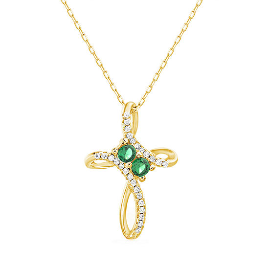 Silver Treasures Emerald 14K Gold Over Silver 18 Inch Cable Cross Pendant Necklace