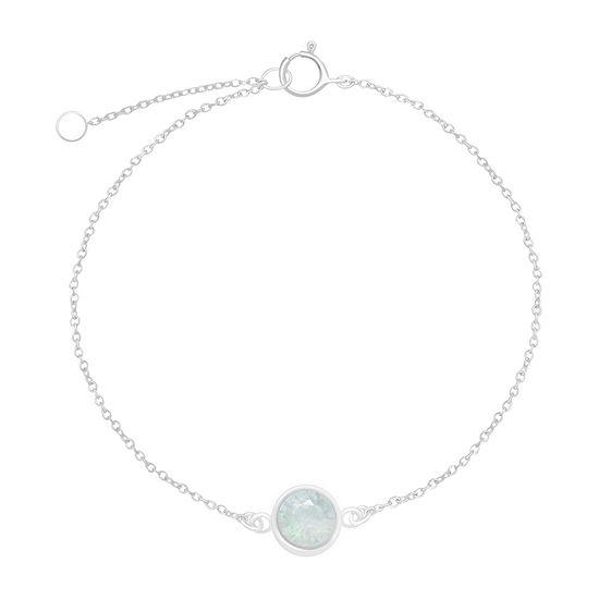 Itsy Bitsy Sterling Silver Crystal 8 Inch Link Chain Bracelet
