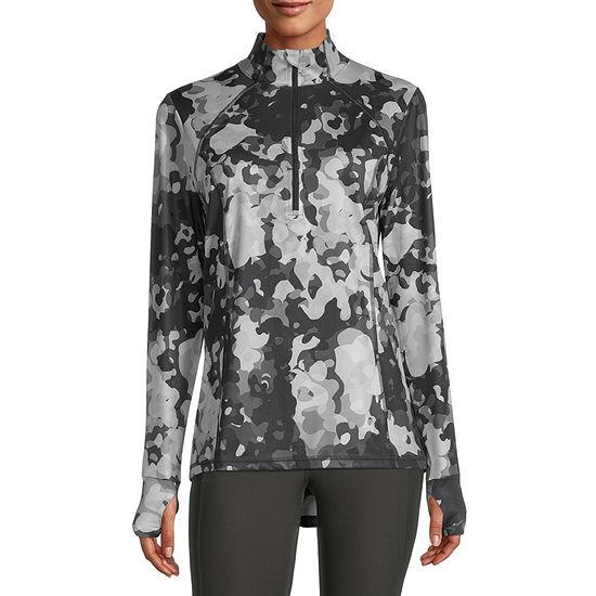Xersion Womens Mock Neck Long Sleeve Quarter-Zip Pullover