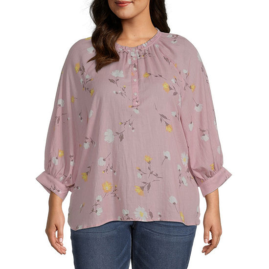a.n.a-Plus Womens Round Neck 3/4 Sleeve Henley Shirt