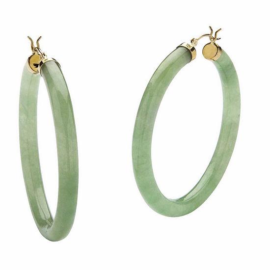 Genuine Green Jade 10K Gold 45mm Hoop Earrings