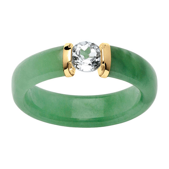 5MM Genuine Green Jade 10K Gold Band