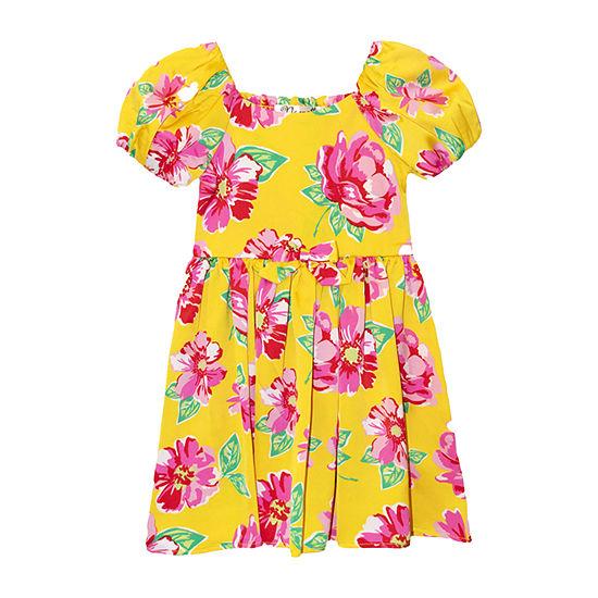 Nannette Baby Toddler Girls Short Sleeve Floral A-Line Dress