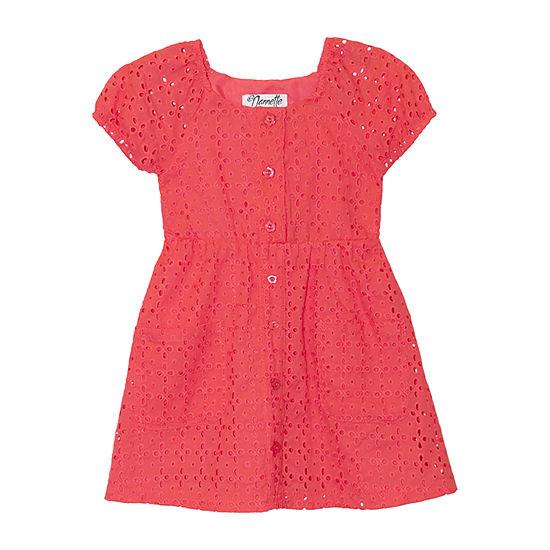 Nannette Baby Toddler Girls Short Sleeve Puffed Sleeve A-Line Dress