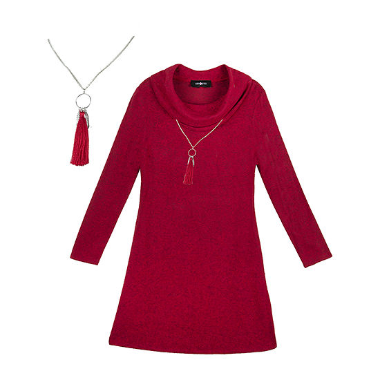 by&by Big Girls Long and Flutter Sleeve Sweater Dress