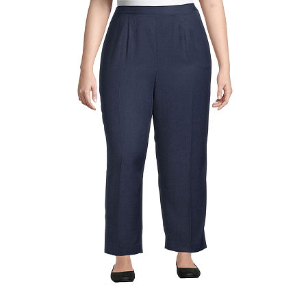 Alfred Dunner-Plus Short Womens Straight Flat Front Pant, 22w Short , Blue