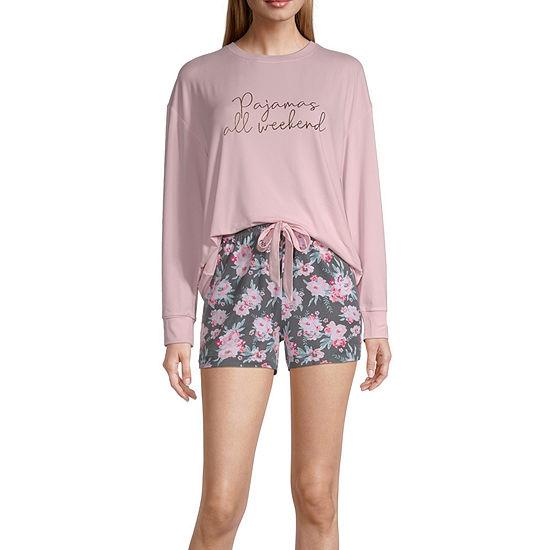 Peace Love And Dreams Womens Shorts Pajama Set 2-pc. Long Sleeve