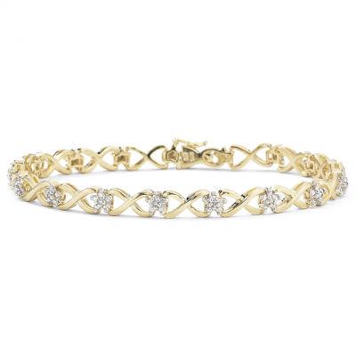 1/10 CT. T.W. Diamond 14K Gold over Sterling Silver Bracelet