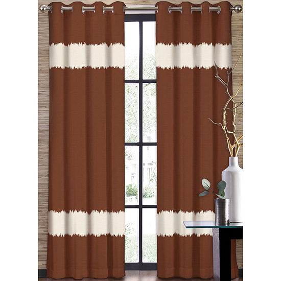 Colordrift Seismic Two Tone Stripe Grommet Top Curtain Panel