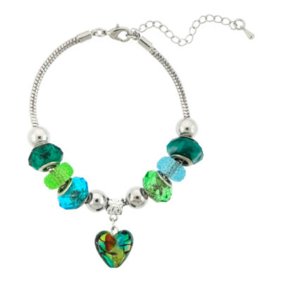 Dazzling Designs™ Silver-Plated Blue and Green Glass Bead Heart Bracelet