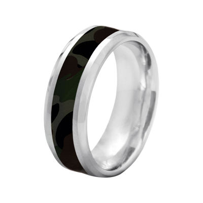 Mens 8mm Comfort Fit Stainless Steel Camouflage Wedding Band