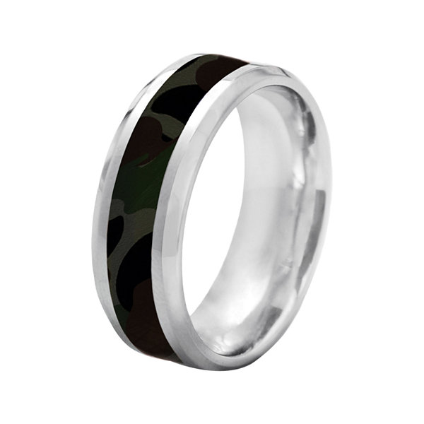 Stainless Steel Camo Wedding Band