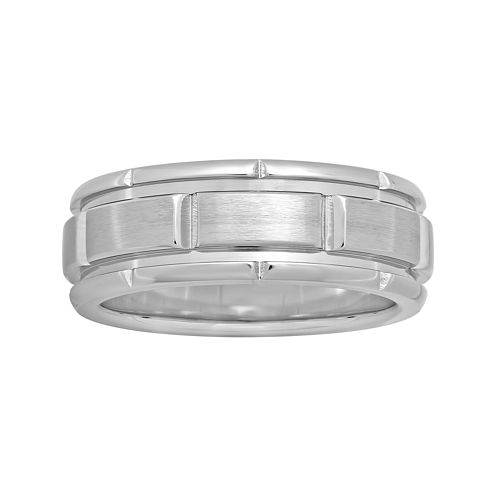Mens 8mm Comfort Fit Stainless Steel Brick Pattern Wedding Band