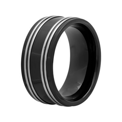 Mens 10mm Two-Tone Stainless Steel Wedding Band