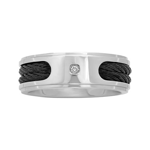 Mens Stainless Steel & Cable ½ CT. Diamond Wedding Band