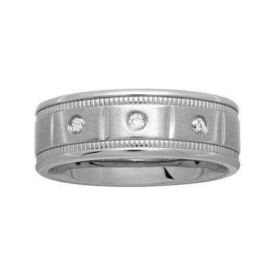 Mens Blocked Stainless Steel 1/10 CT. T.W. Diamond Wedding Band