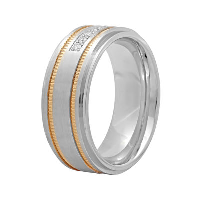 Mens Two-Tone Stainless Steel 1/7 CT. T.W. Diamond Wedding Band