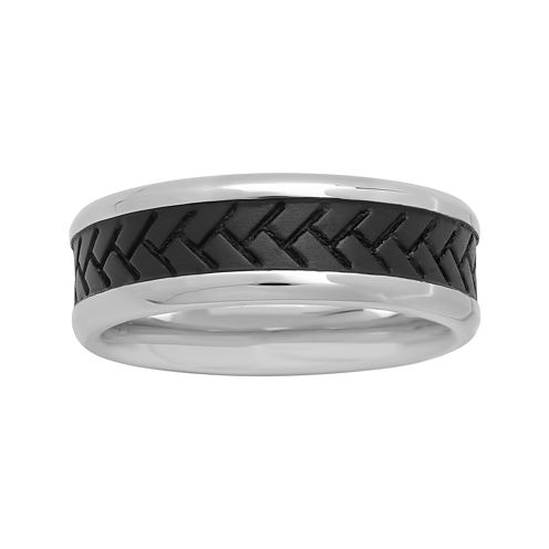 Mens 8mm Two-Tone Stainless Steel Tire Tread Band