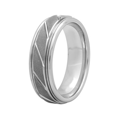 Mens 7mm Comfort Fit Tungsten Carbide Diagonal Groove Wedding Band
