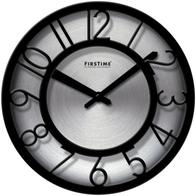 FirsTime® Black-on-Steel Wall Clock