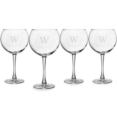 Cathy's Concepts Monogram Etched Glass Set of 4 Personalizable Wine Glasses