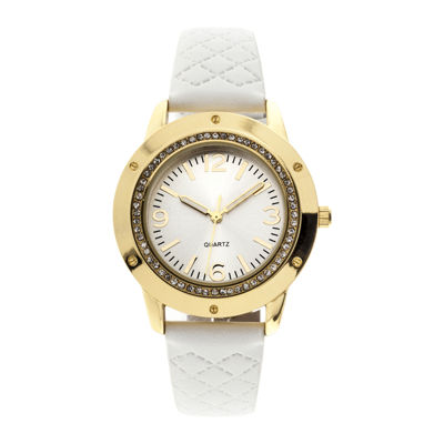 Womens Crystal-Accent Quilted Strap Watch