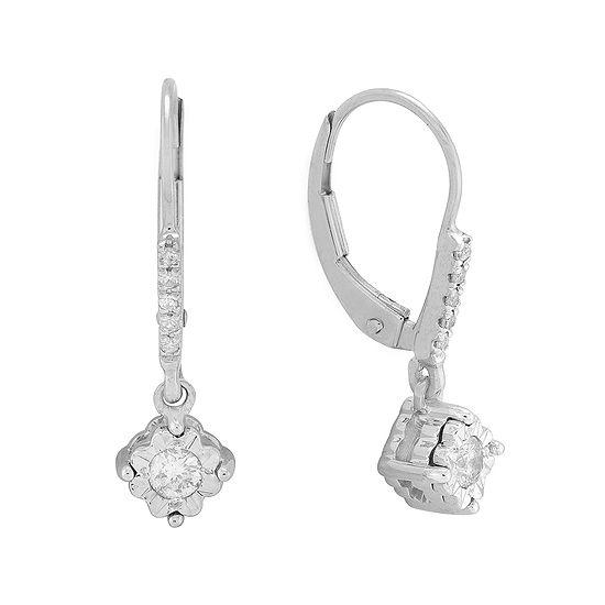 1/5 CT. T.W. Diamond 10K White Gold Drop Earrings