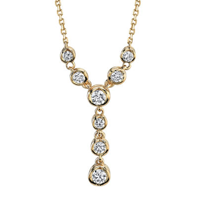 "Sirena®  1/4 CT. T.W. Diamond 14K Yellow Gold ""Y"" Necklace"