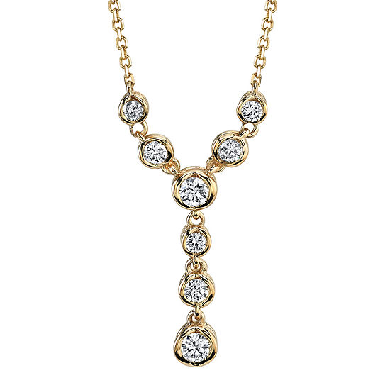 """Sirena®  1/4 CT. T.W. Diamond 14K Yellow Gold """"Y"""" Necklace"""