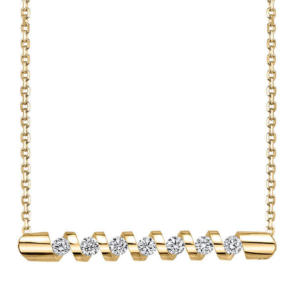Sirena® 1/4 CT. T.W. Diamond 14K Yellow Gold Bar Pendant Necklace