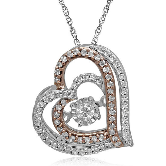 Love in Motion™ 1/5 CT. T.W. Diamond 10K Gold Heart Pendant