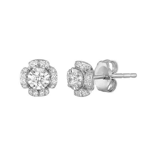1/4 CT. T.W. Diamond 10K White Gold Tulip Stud Earrings
