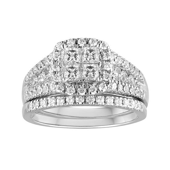 1 Ct Tw Diamond 14k White Gold Bridal Ring Set