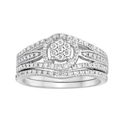 I Said Yes™ 1/3 CT. T.W. Diamond Halo Bridal Ring Set