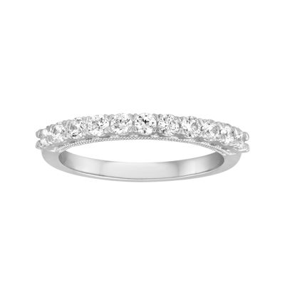 1/2 CT. T.W. Diamond and Lab-Created Sapphire 10K White Gold Band
