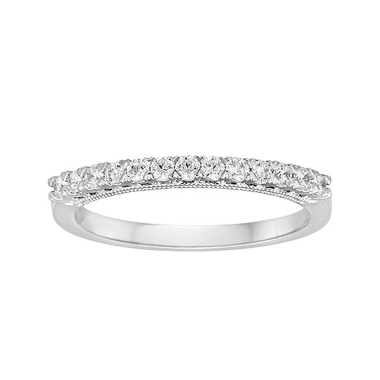 1/4 CT. T.W. Diamond and Lab-Created Sapphire 10K White Gold Ring