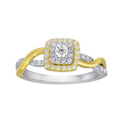 3/8 CT. T.W. Diamond and Lab-Created Sapphire 10K Yellow Gold Engagement Ring