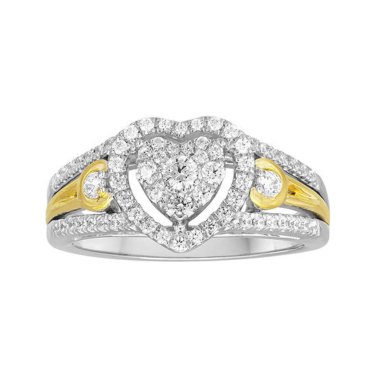 1 2 Ct Tw Diamond And Lab Created Sapphire 10k Two Tone Yellow Gold Bridal Ring