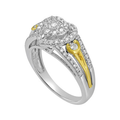1/2 CT. T.W. Diamond and Lab-Created Sapphire 10K Two-Tone Yellow Gold Bridal Ring
