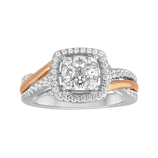 5/8 CT. T.W. Diamond and Lab-Created 10K Two-Tone Gold Bypass Bridal Ring